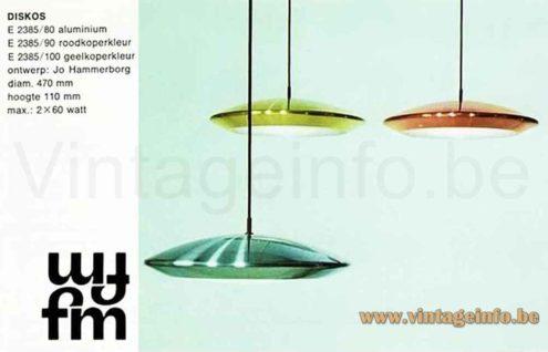 Fog & Mørup Diskos Pendant Lamp - 1960s Design: Jo Hammerborg, Denmark - Catalogue Picture