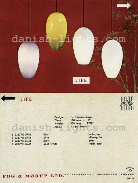 Fog & Mørup Life pendant lamp 1963 catalogue picture Danish-Lights.com design: Jo Hammerborg Holmegaard Denmark
