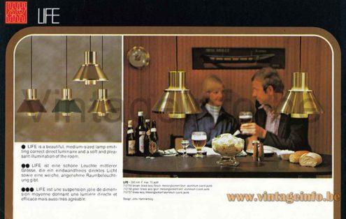 Fog & Mørup Life pendant lamp 1976 catalogue picture design: Jo Hammerborg conical brass lampshade Denmark