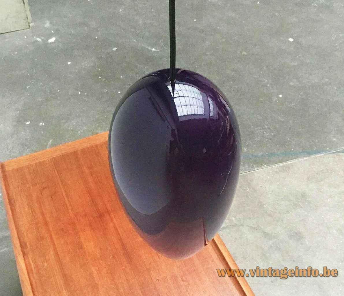 Fog & Mørup Life pendant lamp purple droplet glass lampshade design: Jo Hammerborg Holmegaard Denmark E27 socket