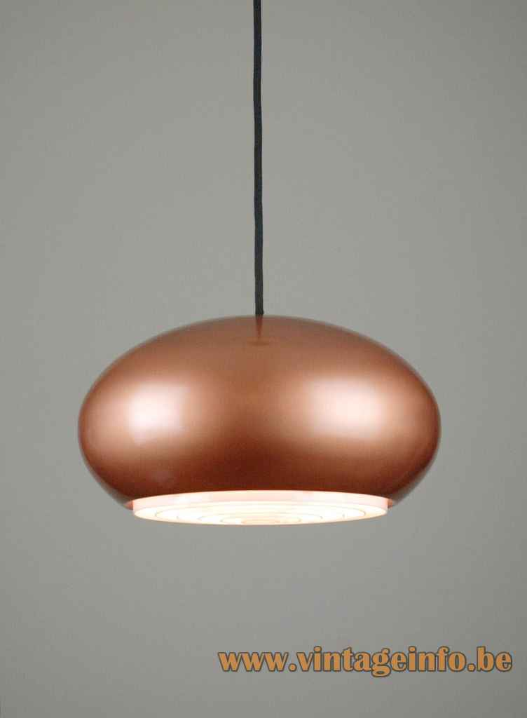 Fog & Morup Medio pendant lamp copper oval globe lampshade grid diffuser 1960s design: Jo Hammerborg Denmark