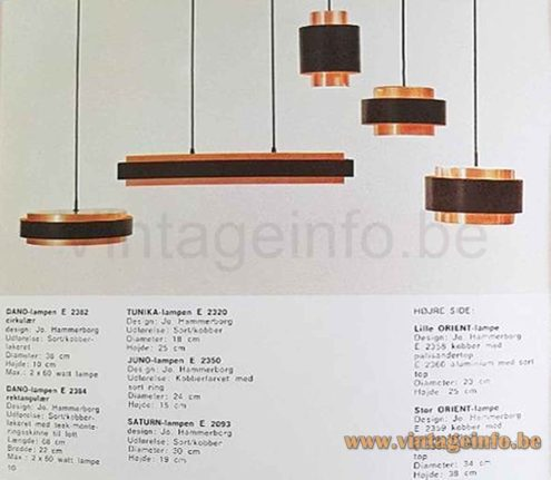 Fog & Mørup Saturn pendant lamp 1950s design: Jo Hammerborg Denmark 1968 catalogue picture