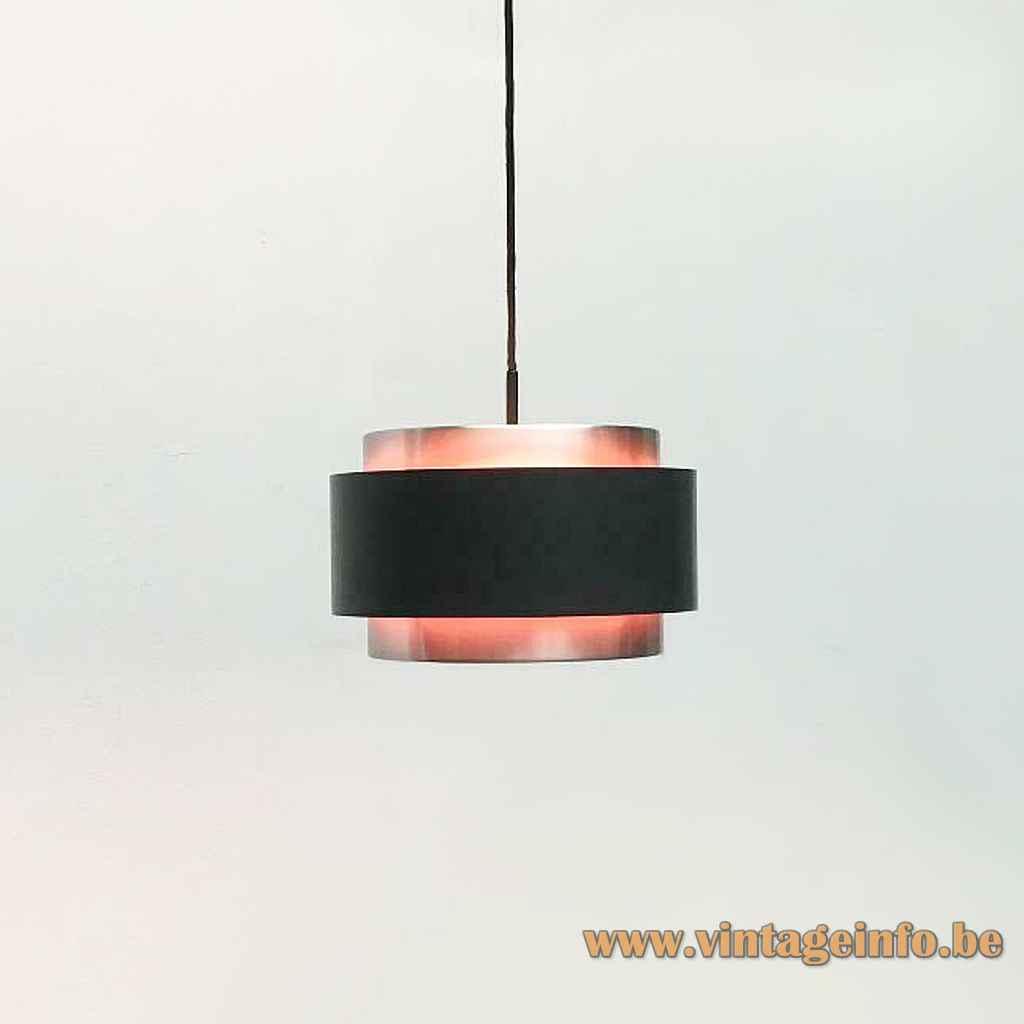 Fog & Mørup Saturn pendant lamp round black & aluminium lampshade magenta inside 1950s design: Jo Hammerborg Denmark