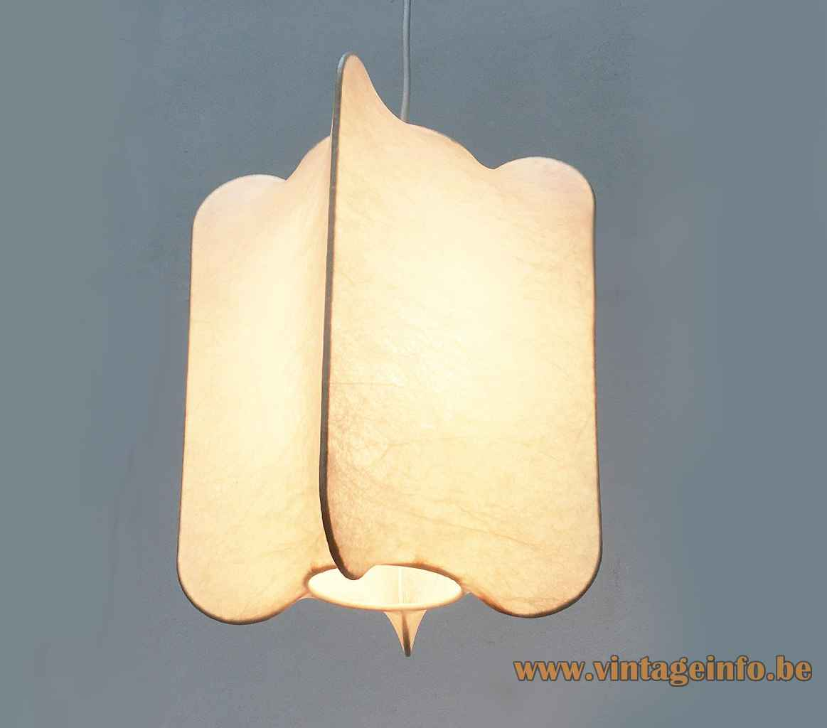 Goldkant Cocoon pendant lamp organic shaped plastic lampshade wire frame 1960s 1970s Germany E27 socket