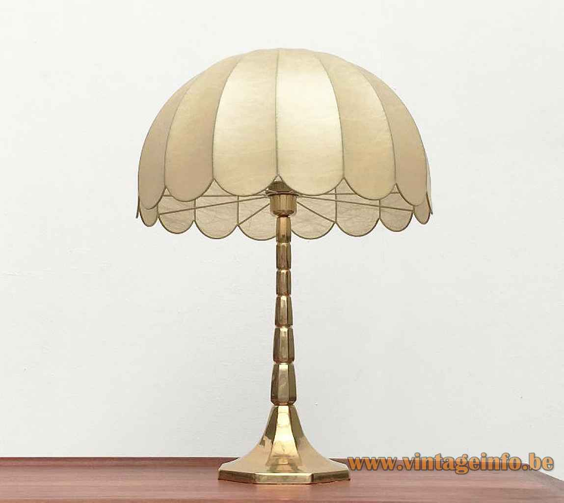 Goldkant Leuchten Cocoon table lamp hexagonal cast brass base & rod plastic umbrella lampshade 1970s 1980s Germany