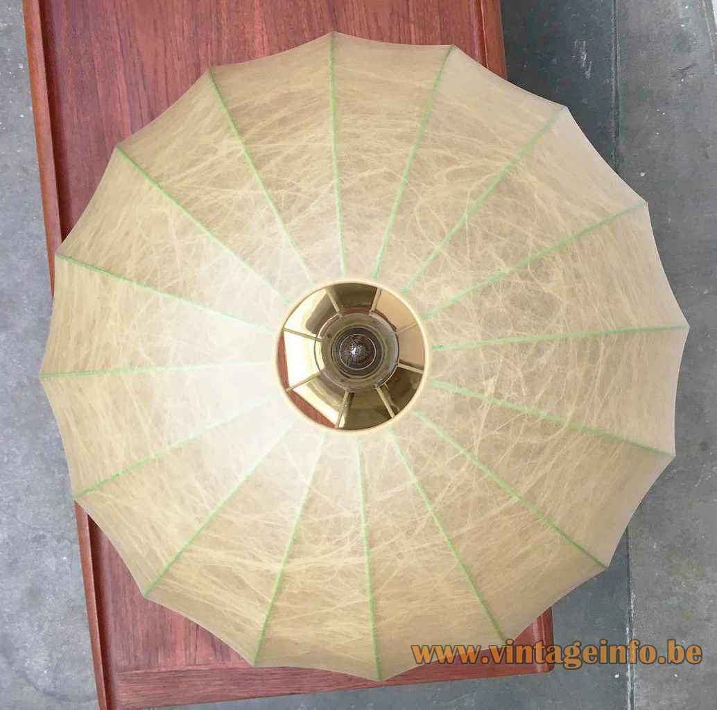 Goldkant Leuchten Cocoon table lamp plastic umbrella parasol lampshade top view 1970s 1980s Germany
