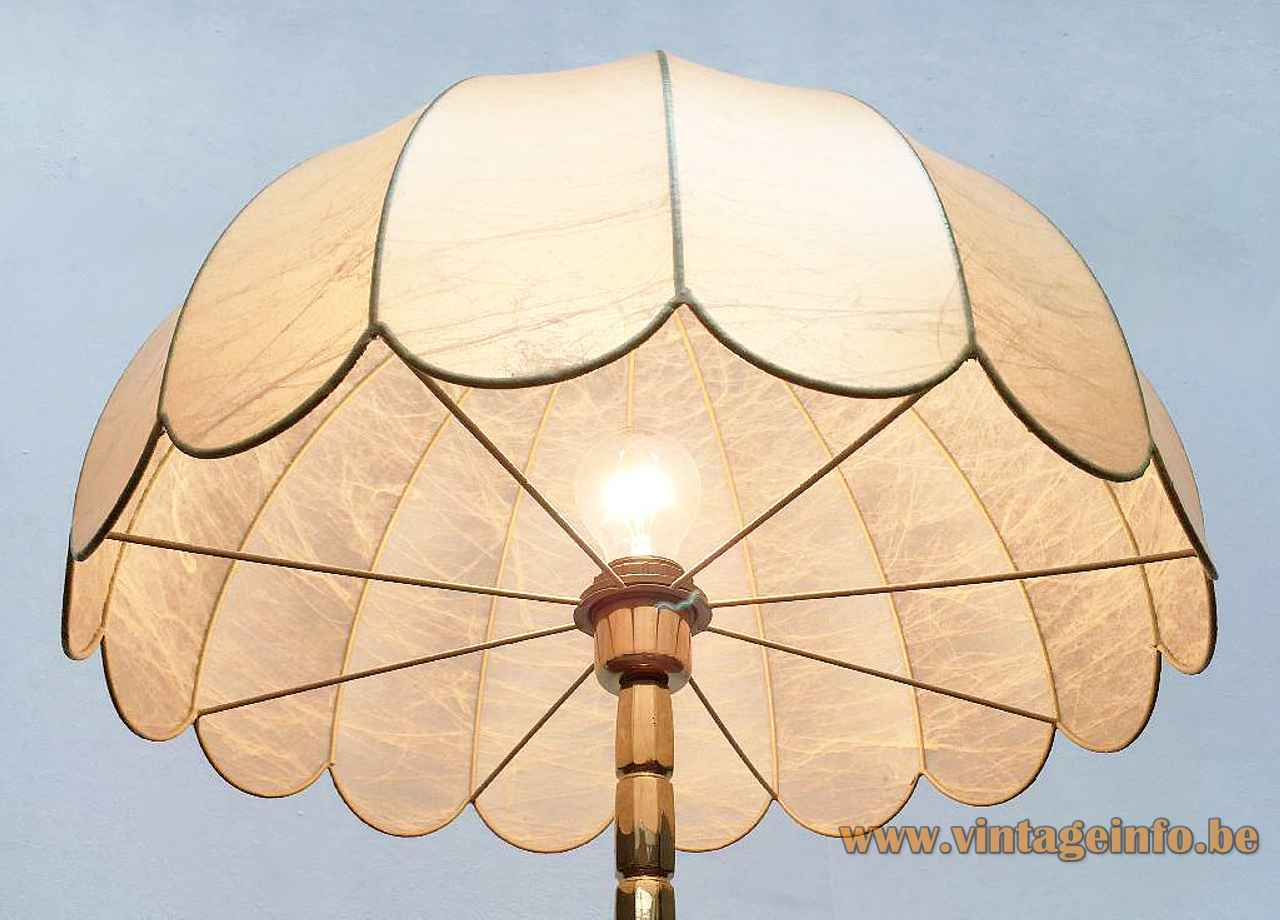 Goldkant Leuchten Cocoon table lamp plastic umbrella parasol lampshade inside view 1970s 1980s Germany E27 socket