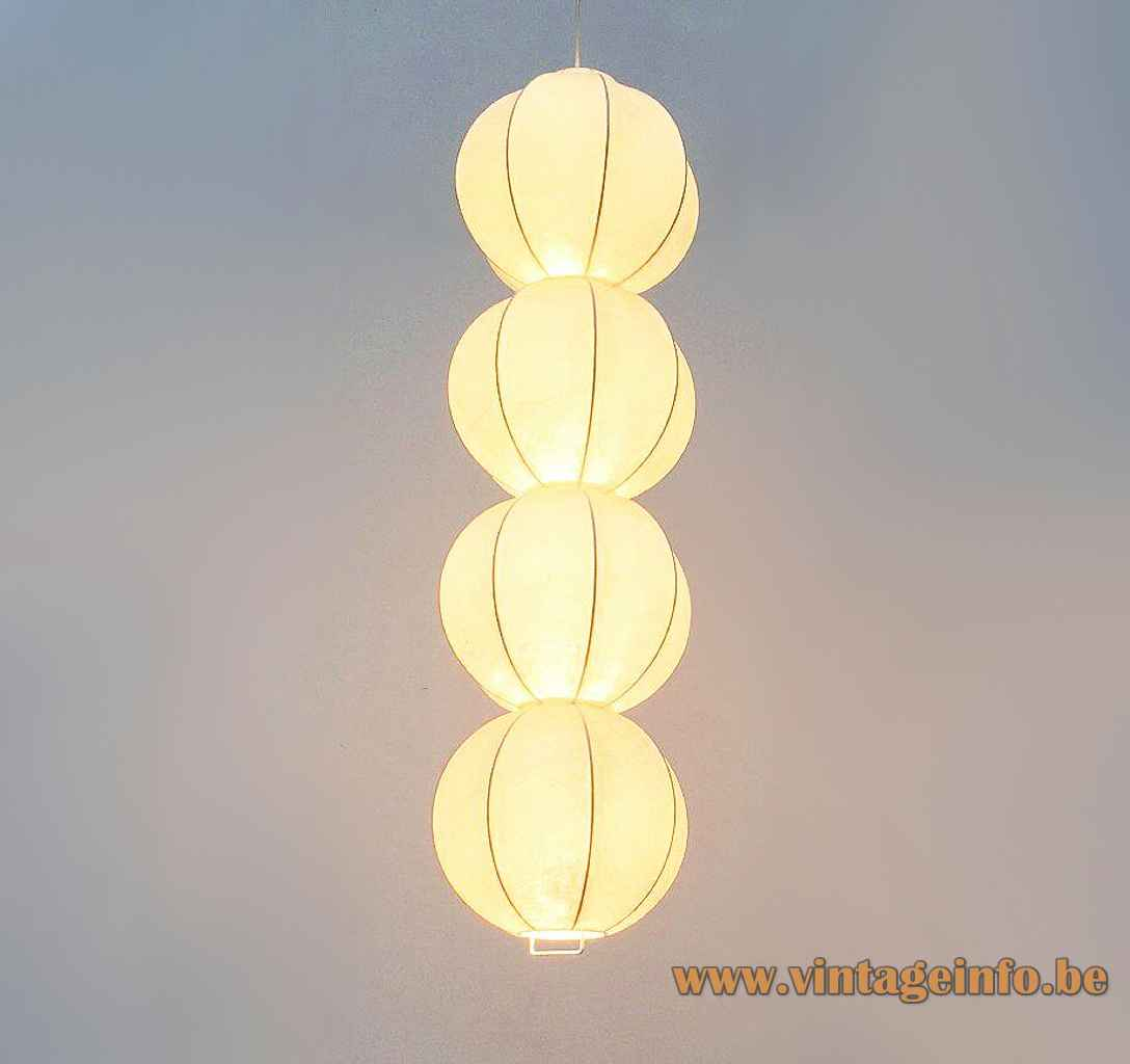 Goldkant Leuchten Kattala chandelier 4 Cocoon plastic globes lampshade 1960s 1970s Friedel Wauer Germany
