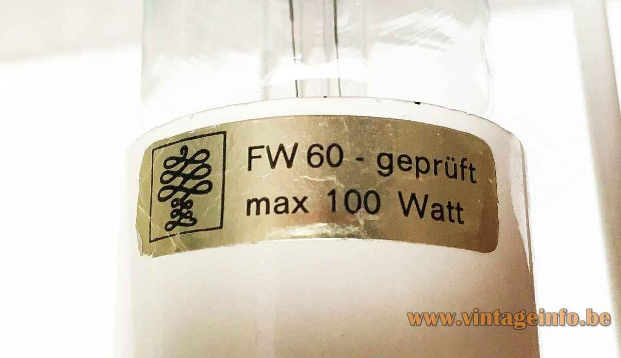 Goldkant Leuchten Kattala chandelier gold paper label logo Maximum 100 Watt 1960s 1970s Friedel Wauer Germany