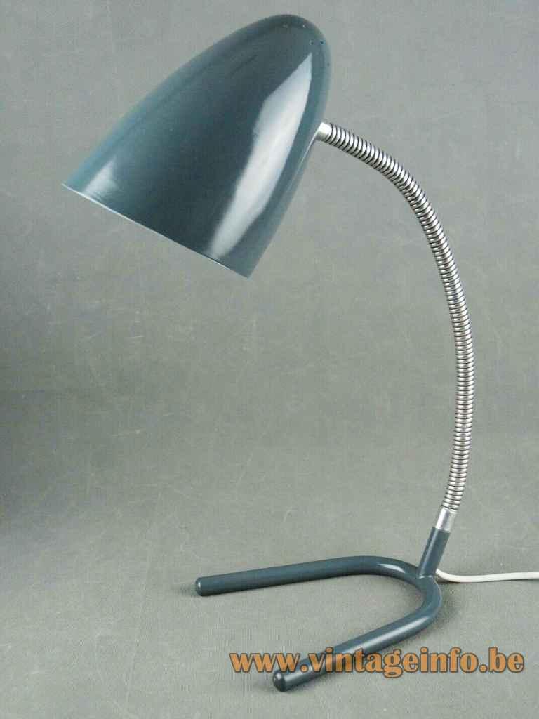 Günter Trieschmann desk lamp L5 grey metal crow foot fork base chrome gooseneck conical lampshade 1950s