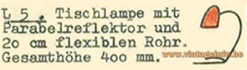 Günter Trieschmann Desk Lamp L5 - Catalogue Picture