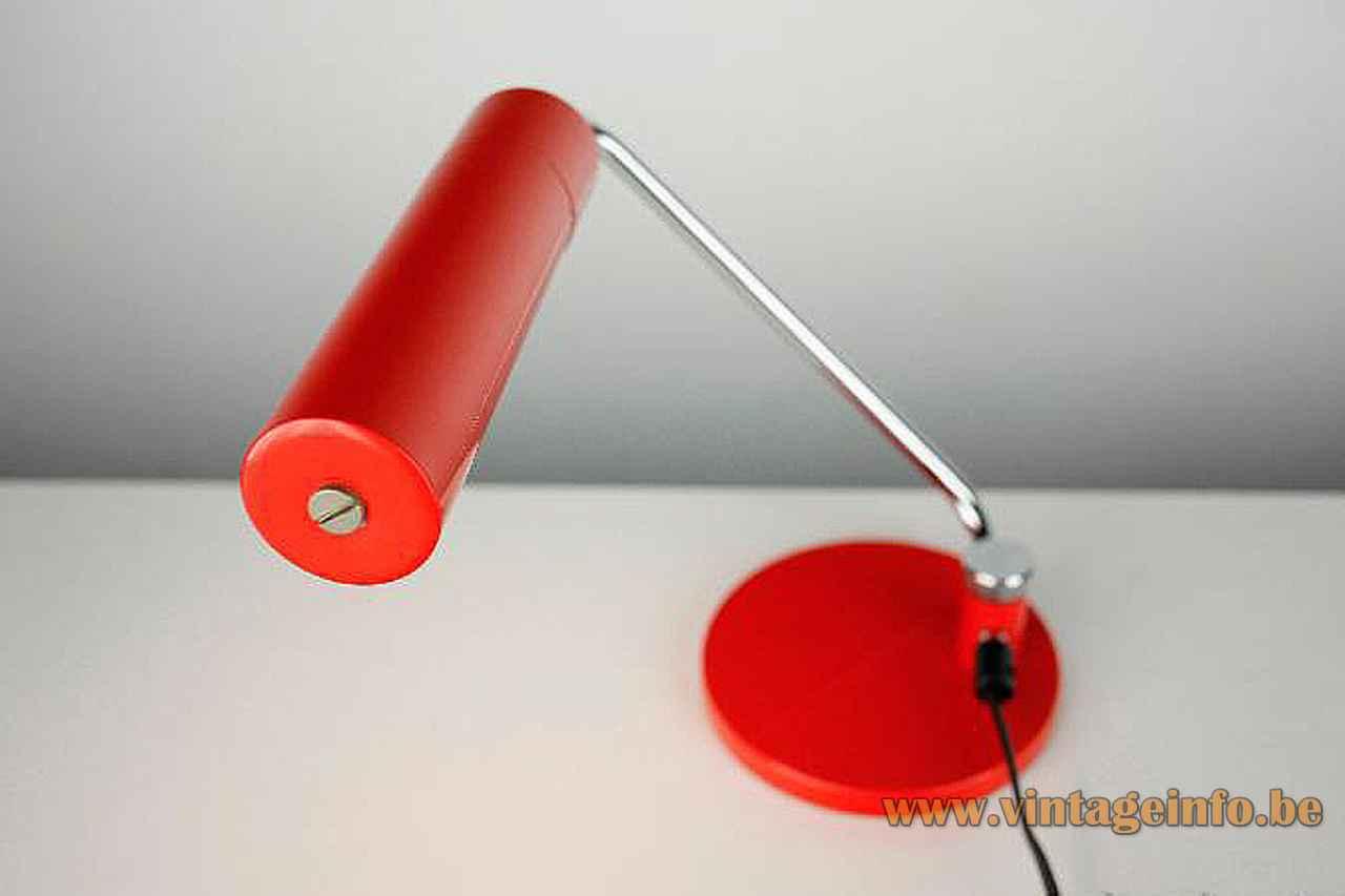 Hala tube desk lamp round red base folded chrome rod adjustable elongated lampshade 1960s 1970s Netherlands
