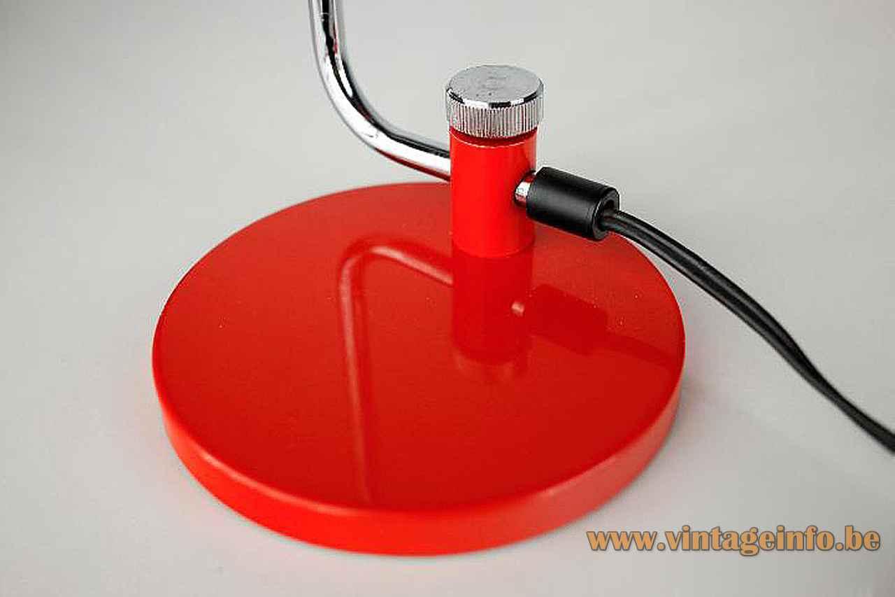 Hala tube desk lamp round red base adjustable folded chrome rod & ornamental screw 1960s 1970s Netherlands