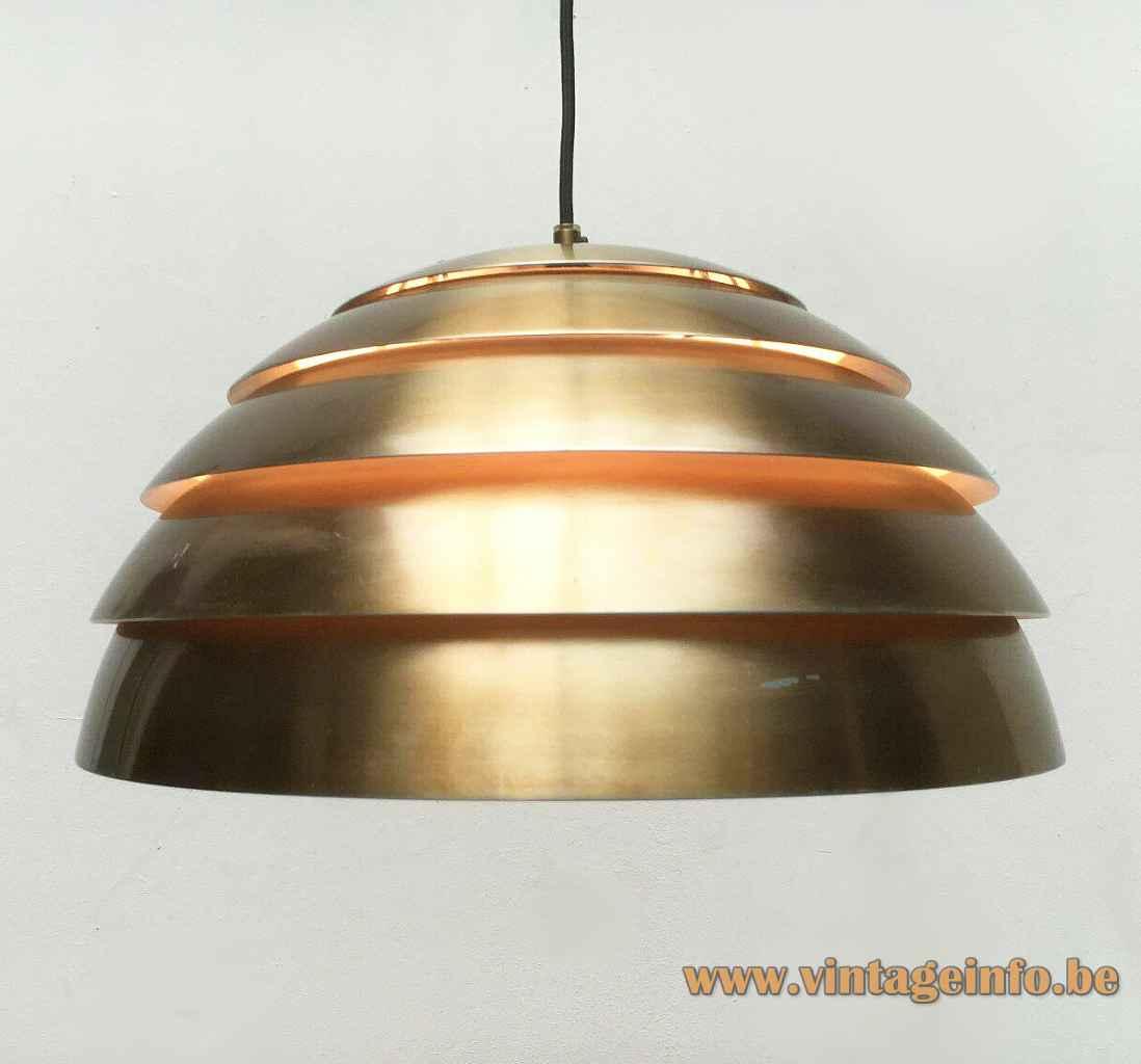 Hans-Agne Jakobsson dome pendant lamp round brass coloured metal lamella lampshade 1960s 1970s Sweden E27 socket