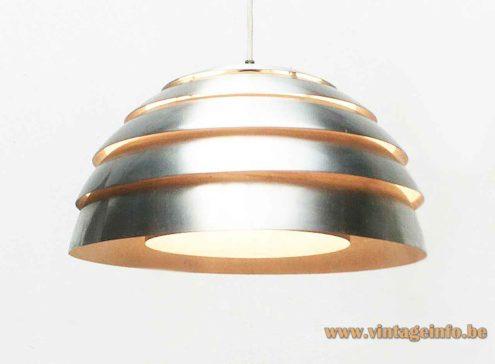 Hans-Agne Jakobsson dome pendant lamp round chrome metal lamella lampshade 1960s 1970s Sweden E27 socket