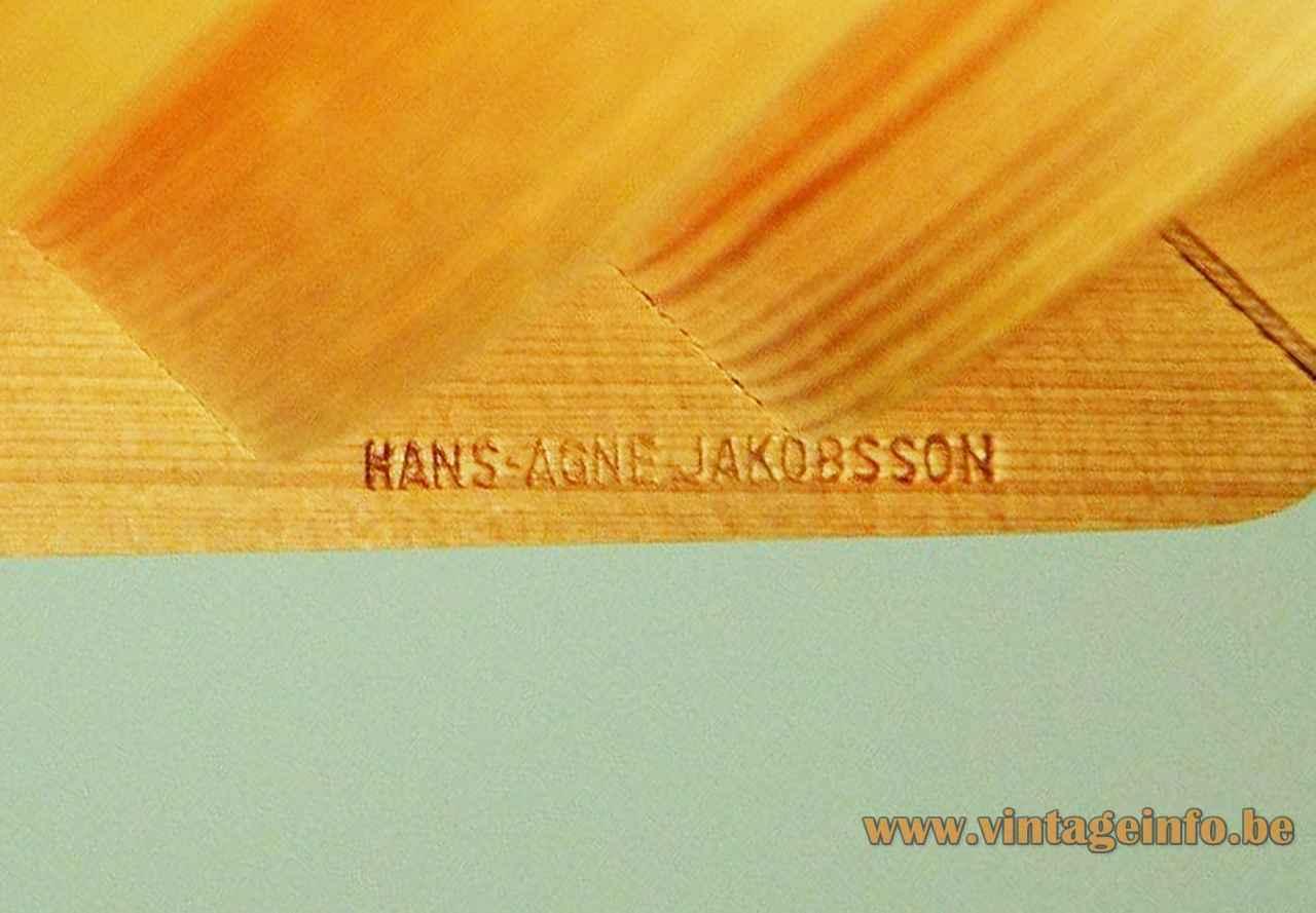 Hans-Agne Jakobsson T510 pendant stamp label logo pine bracket 1960s AB Ellysett Sweden 1963 design