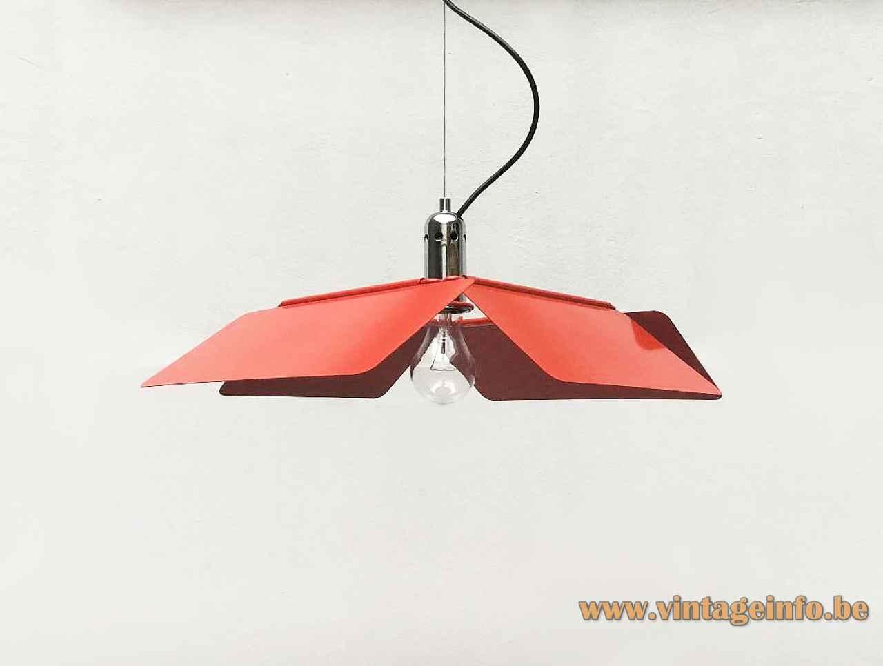 Harvey Guzzini Diaframma pendant lamp design: Fabio Lenci 4 adjustable metal slats square lampshade iGuzzini Italy 7064