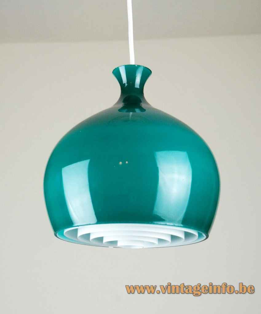 Helge Zimdal Löken pendant lamp green onion shaped glass lampshade 1960s Falkenbergs Belysning Sweden E27 socket