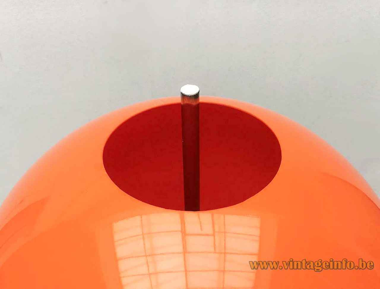 Honsel Leuchten orange globe floor lamp round chrome base & rod acrylic sphere lampshade 1970s Germany