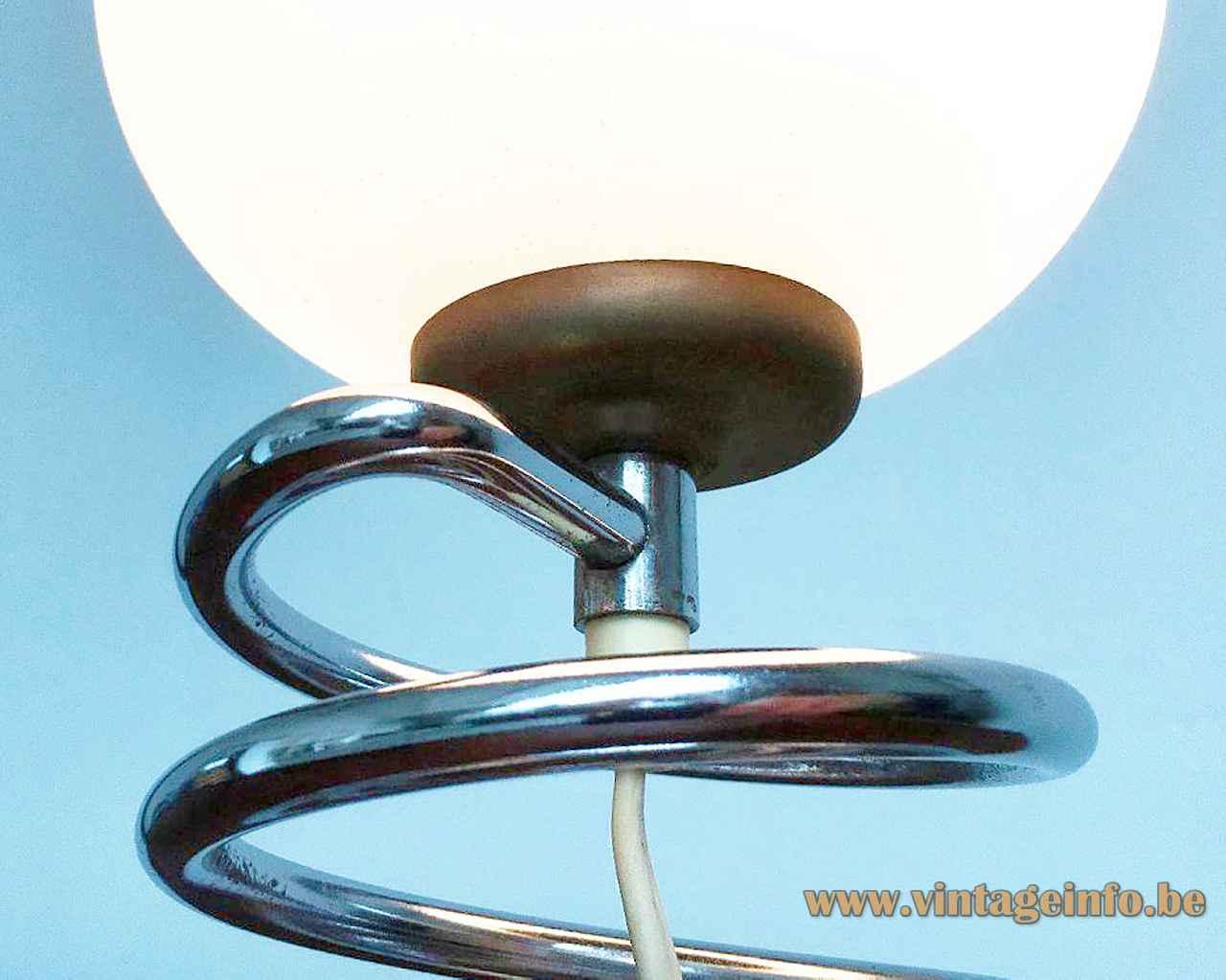 Honsel Leuchten spiral table lamp chrome spring rod base opal glass globe lampshade 1970s Germany
