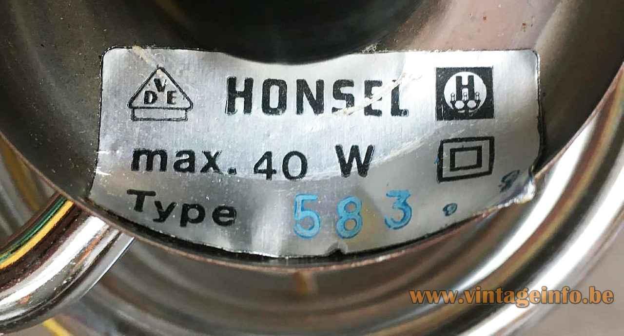 Honsel Leuchten spiral table lamp label logo maximum 40 watt model 583 1970s Germany E14 socket
