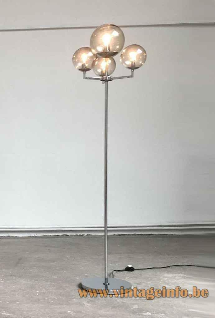 Hustadt Leuchten smoked globes floor lamp round chrome base & rod 4 sphere lampshades 1960s 1970s Germany