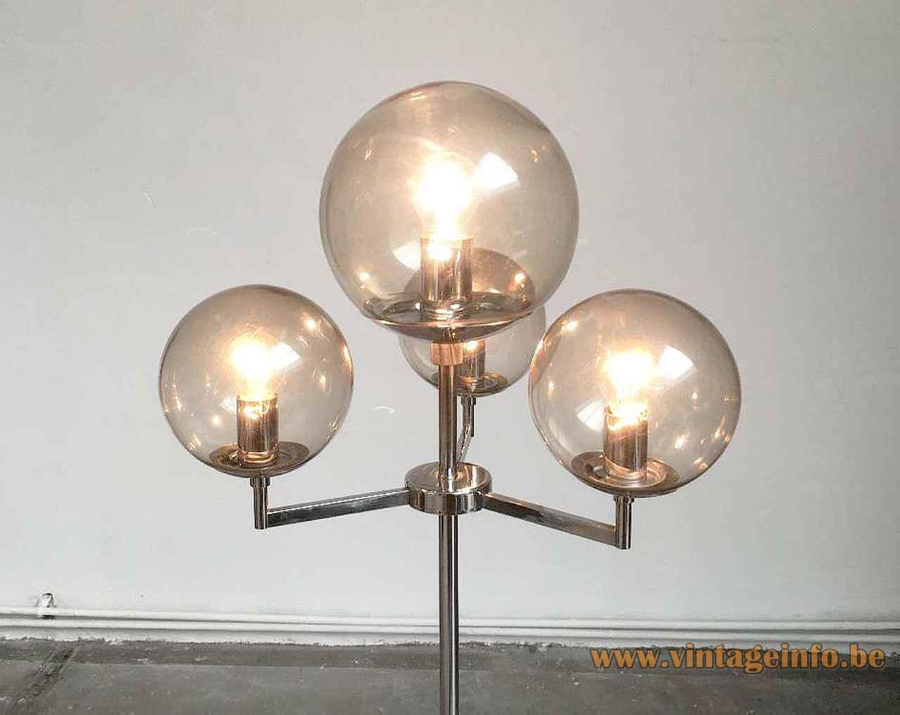 Hustadt Leuchten smoked globes floor lamp chrome rods 4 glass sphere lampshades 1960s 1970s Germany