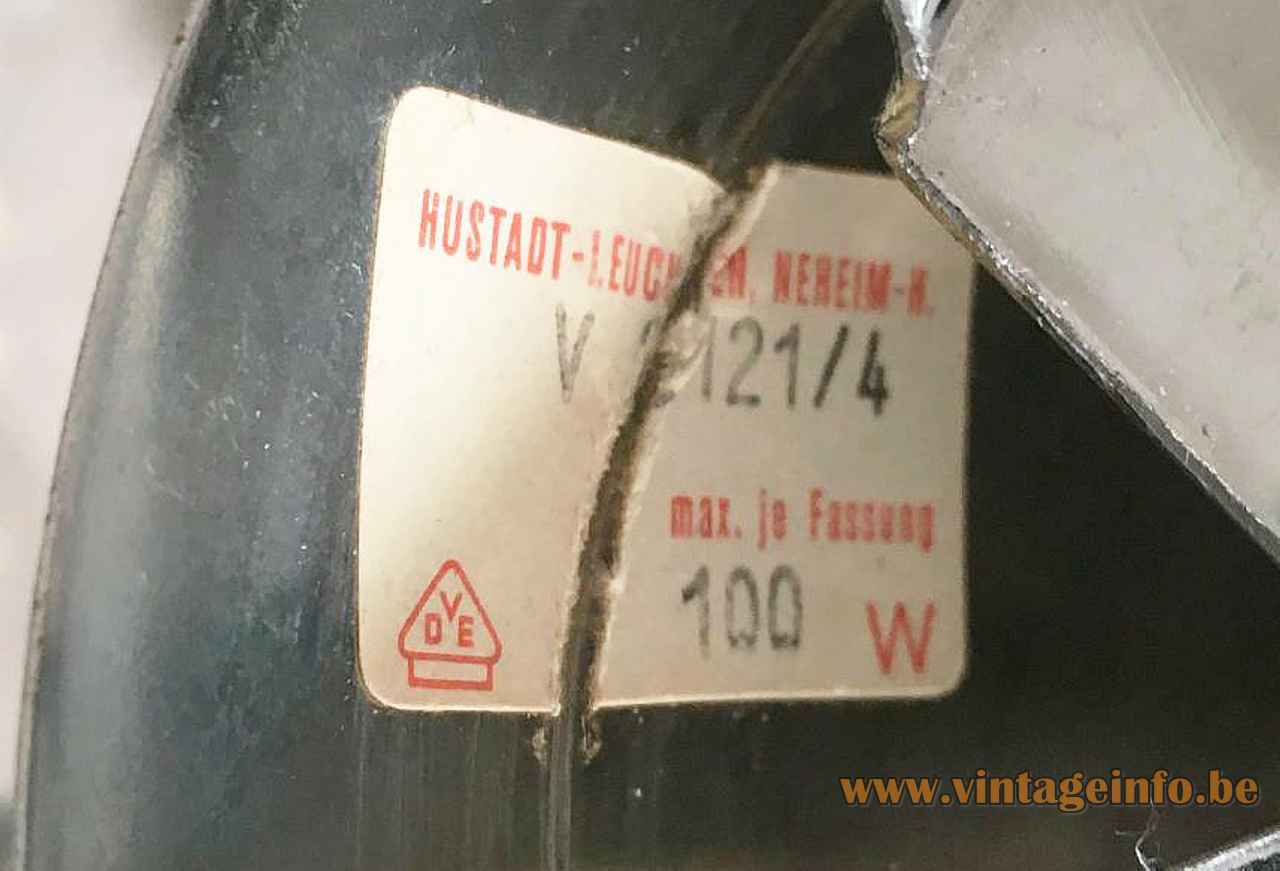 Hustadt Leuchten smoked globes floor lamp paper label maximum 100 watt 1960s 1970s Germany