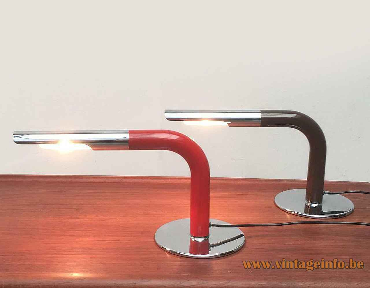 Ingo Maurer Gulp desk lamp round chrome base red tube lampshade 1960s 1970s Design M Germany
