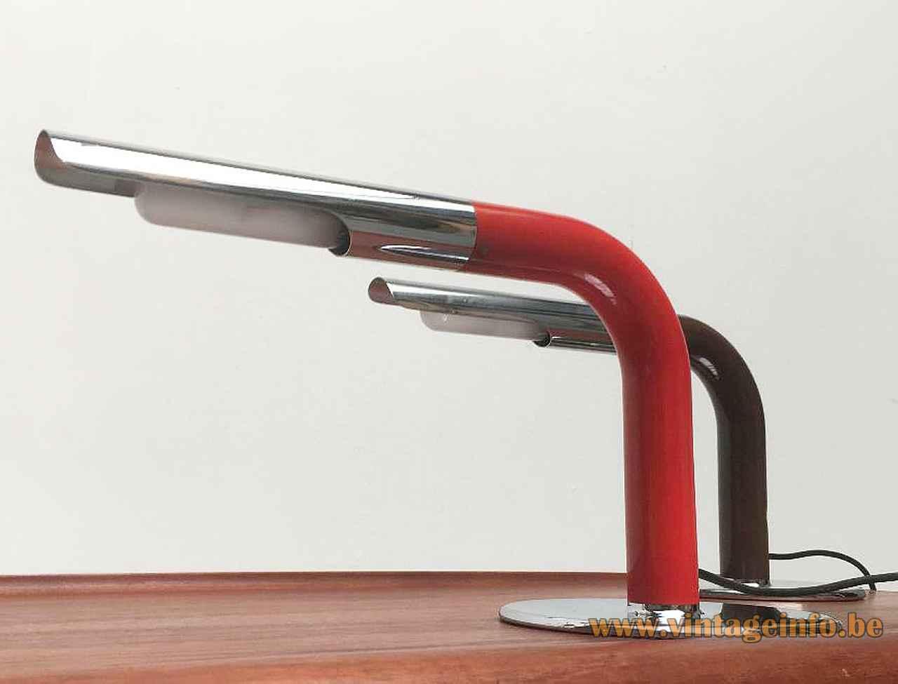 Ingo Maurer Gulp desk lamp round chrome base black tube lampshade 1960s 1970s Design M Germany