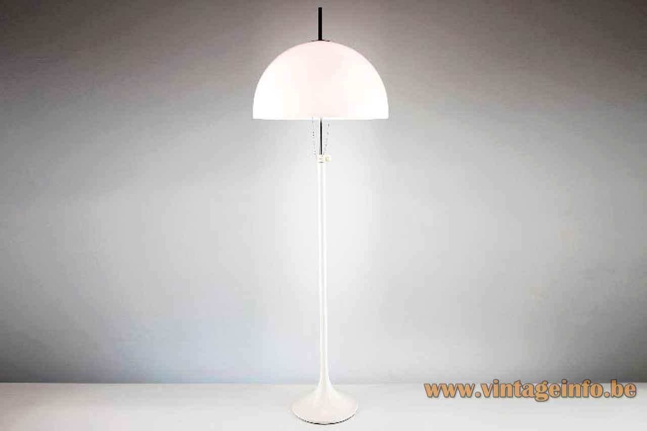 Joan Antoni Blanc mushroom floor lamp white metal base & rod adjustable acrylic lampshade 1960s Tramo Spain