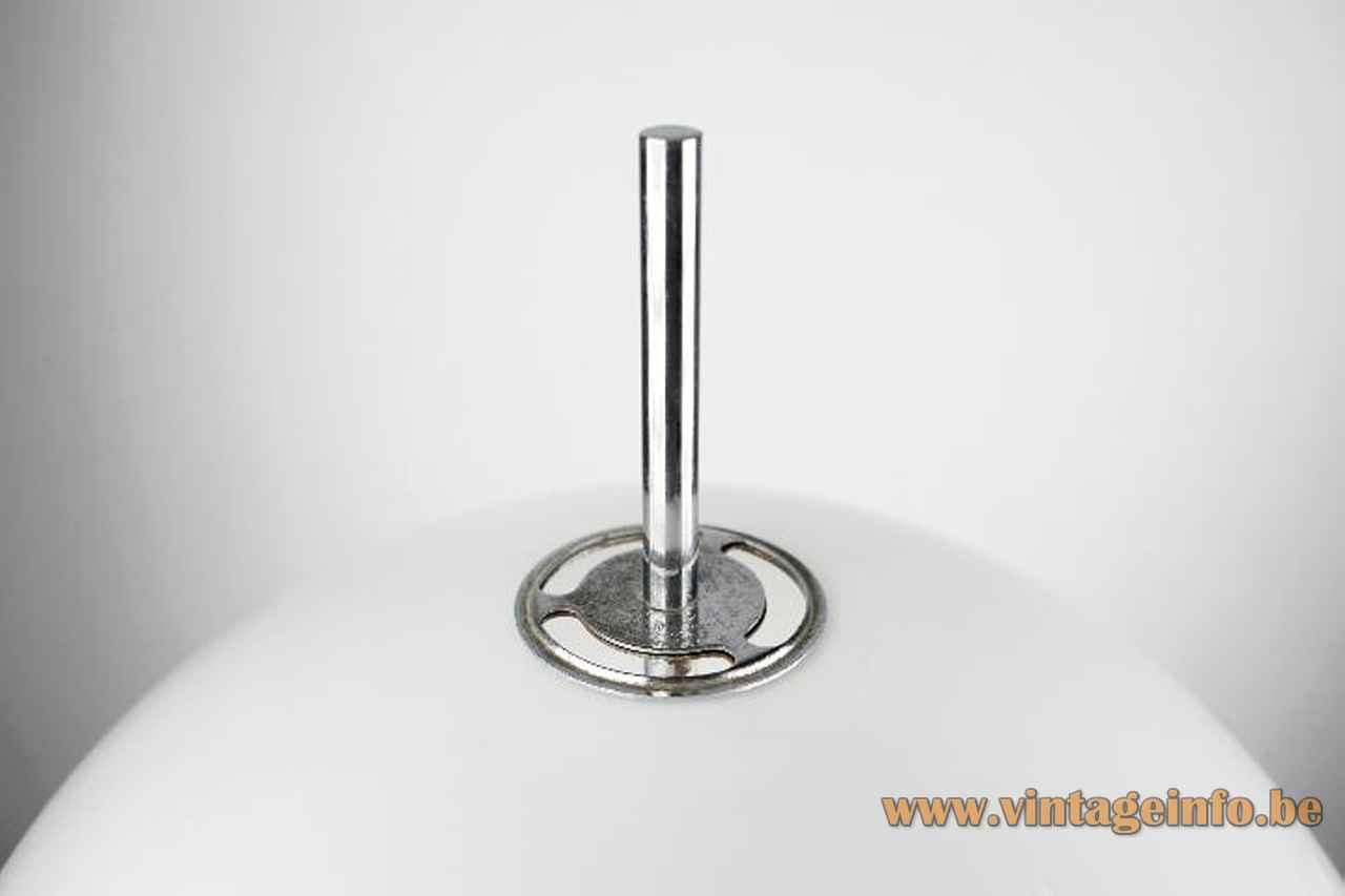 Joan Antoni Blanc mushroom floor lamp top view lampshade chrome rod & ring 1960s Tramo Spain