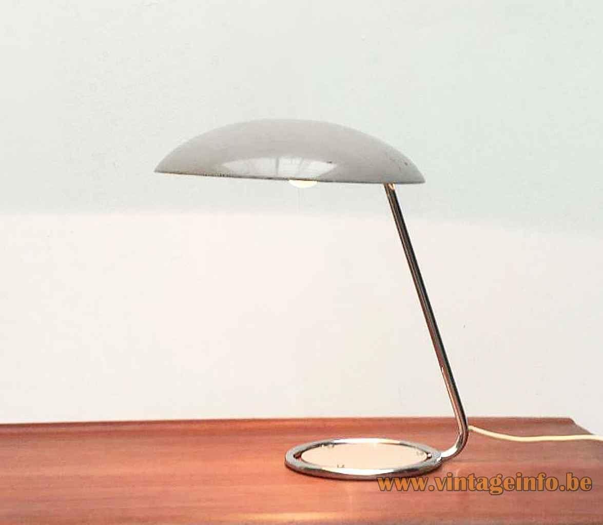 Kaiser Leuchten desk lamp 6761 chrome ring base & rod metal disc mushroom lampshade 1960s 1970s Germany