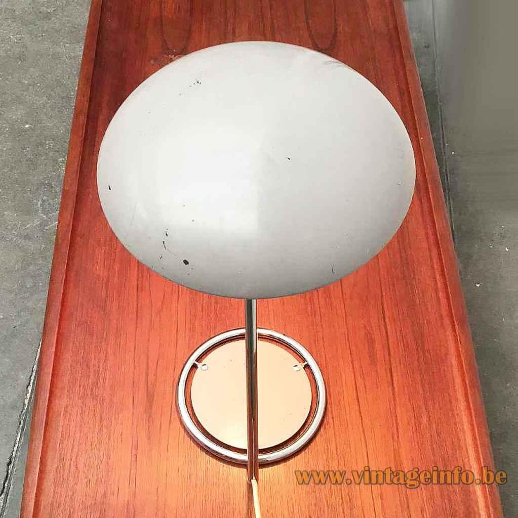 Kaiser Leuchten desk lamp 6761 chrome ring base & rod mushroom lampshade top view 1960s 1970s Germany