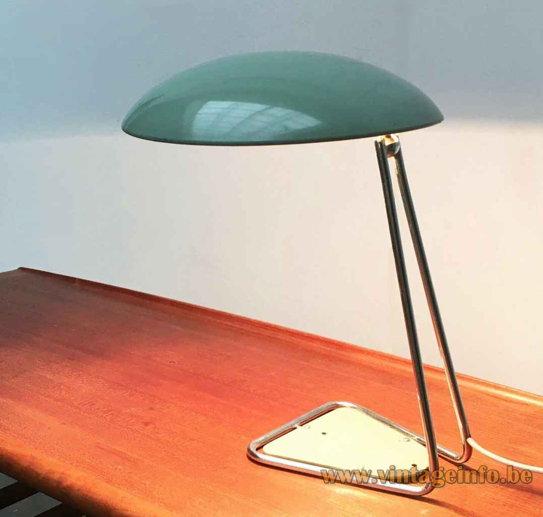 Kaiser Leuchten desk lamp 6763 triangular chrome rod base green inlay adjustable mushroom lampshade 1960s Germany