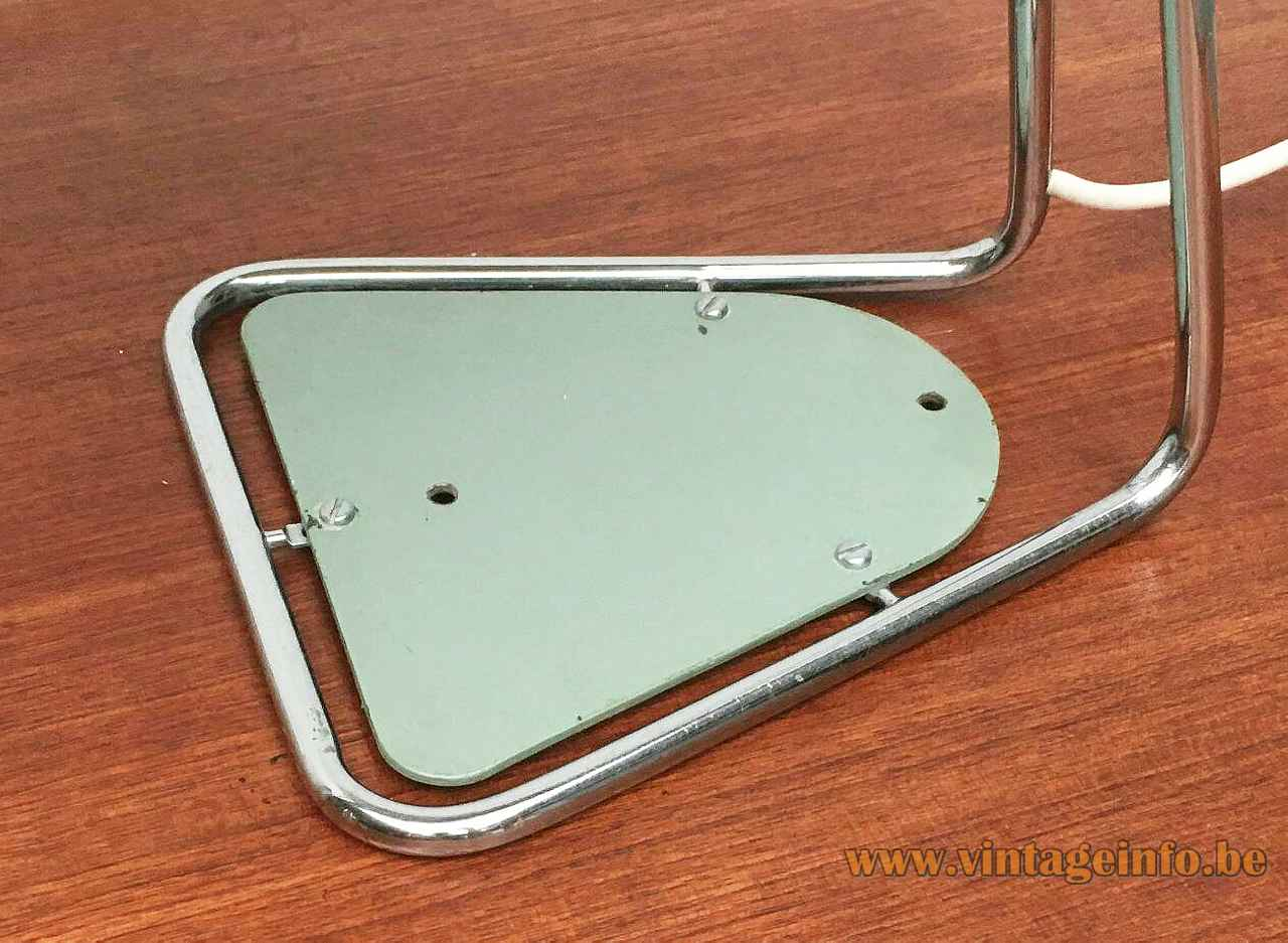 Kaiser Leuchten desk lamp 6763 triangular chrome rod base green disc inlay 3 screws 1960s Germany