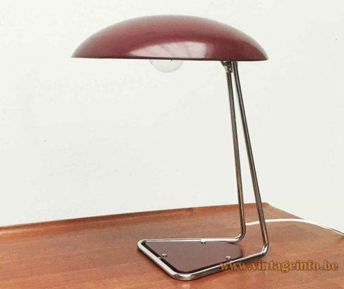Kaiser Leuchten desk lamp 6763 triangular chrome rod base maroon inlay adjustable mushroom lampshade 1960s Germany