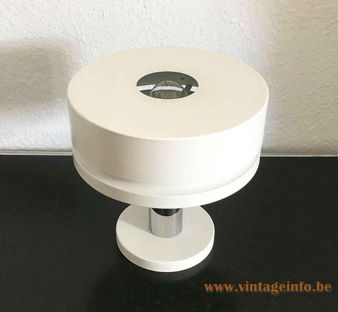 Kaiser Leuchten table lamp 10 round white metal base chrome rod round aluminium lampshade 1970s Germany