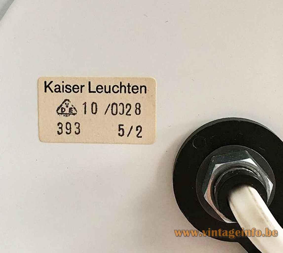 Kaiser Leuchten table lamp paper label 10 /0028 393 5/2 1970s Germany