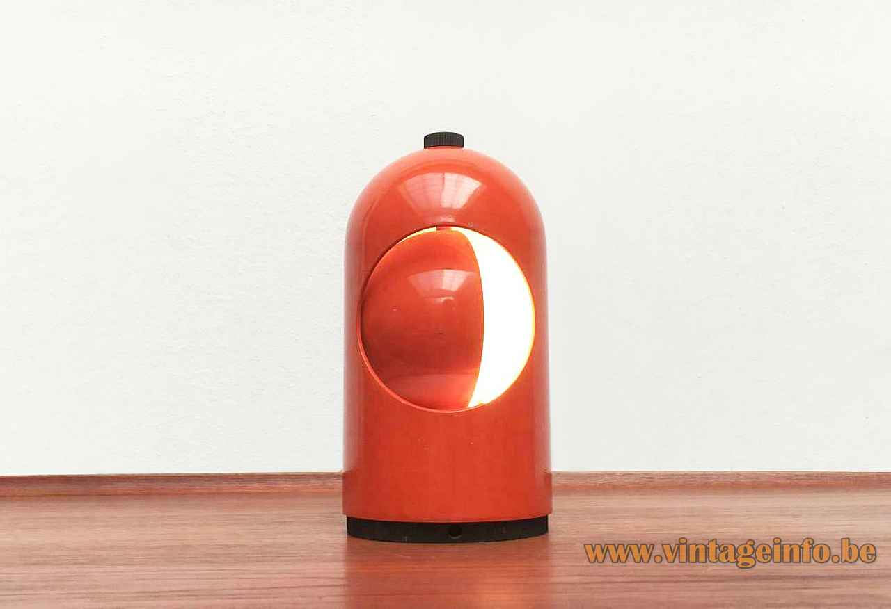 Lightolier Interplay 1 table lamp orange-rod metal eclipse lampshade 1960s 1970s USA ABM Selene Italy