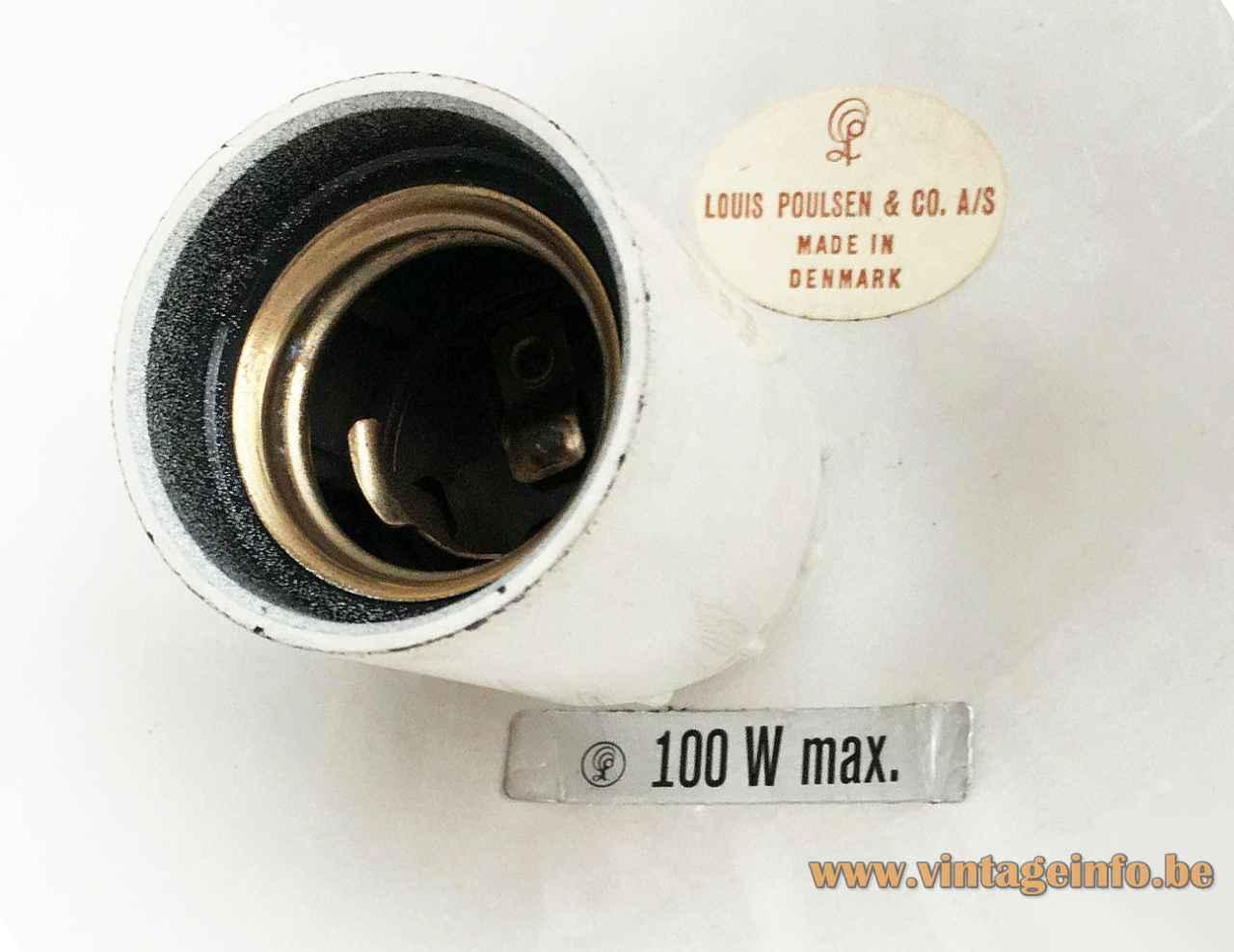 Louis Poulsen Louisiana pendant lamp label logo 100 Watt maximum white Bakelite E27 socket 1960s Denmark