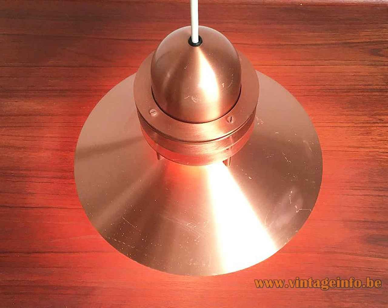 Louis Poulsen Nyhavn pendant lamp copper lampshade rings design: Alfred Homann Denmark top view 1970s 1980s