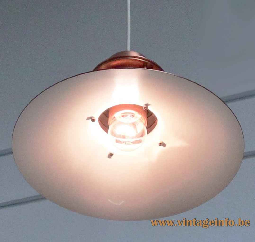Louis Poulsen Nyhavn pendant lamp copper lampshade rings design: Alfred Homann Denmark E27 socket 1970s 1980s