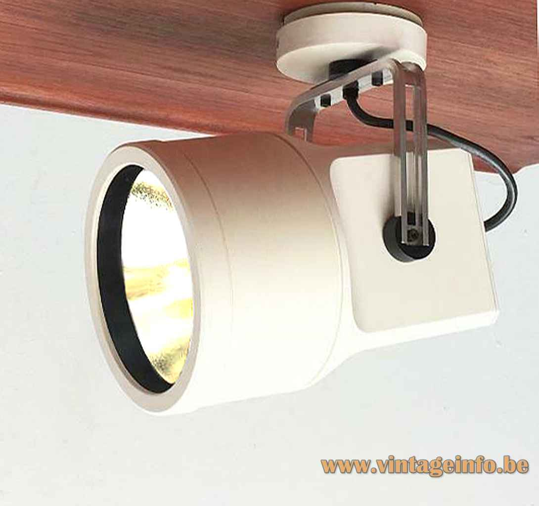 Louis Poulsen Unispot lamp 1968 design white plastic spotlight lampshade aluminium reflector Denmark E27 socket