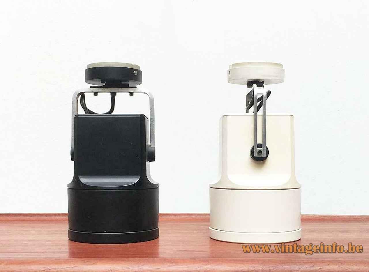 Louis Poulsen Unispot lamp 1968 design white & black plastic spotlight lampshade aluminium reflector Denmark E27 socket