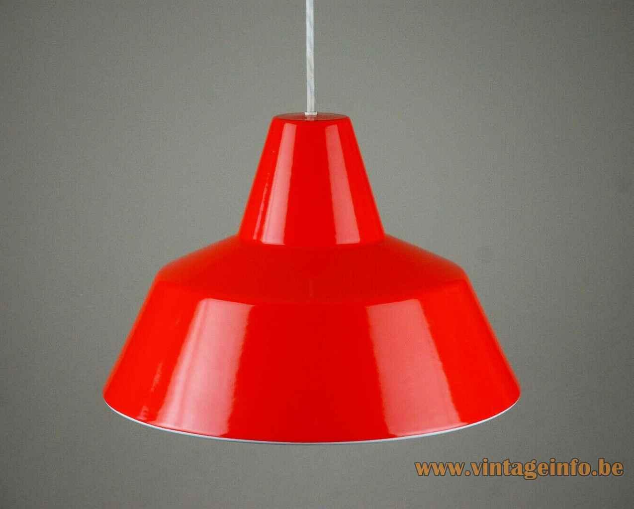 Louis Poulsen Workshop pendant lamp red enamelled industrial metal lampshade 1951 design: Axel Wedel Madsen Denmark