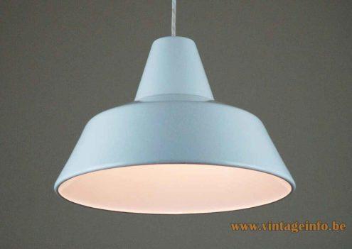Louis Poulsen Workshop pendant lamp grey enamelled industrial metal lampshade 1951 design: Axel Wedel Madsen Denmark