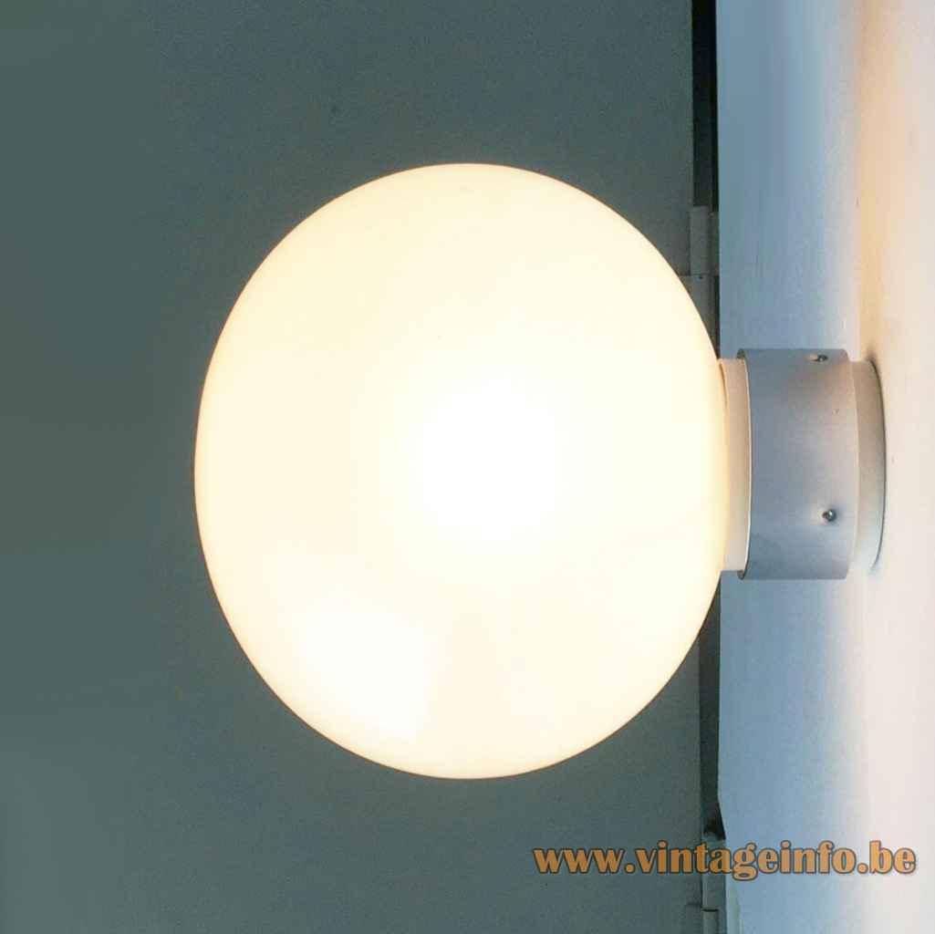 Motoko Ishii globe flush mount Staff iridescent pearl coated glass sphere lampshade 1970s Germany E27 socket
