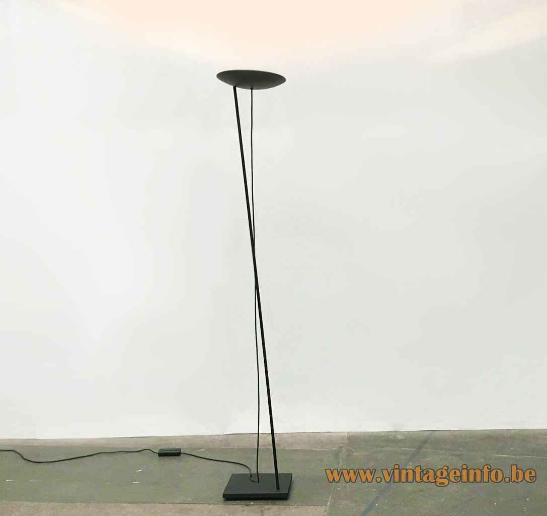 PAF Tao floor lamp square cast iron base long rod black disc lampshade 1980s Italy halogen