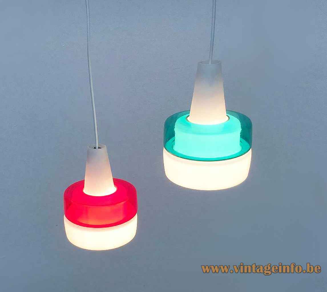 Peill + Putzler duotone glass pendant lamp white opal & clear red & turquoise lampshade 1950s 1960s Germany